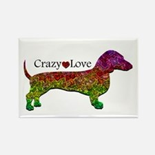 Dachshund - Crazy Love Rectangle Magnet