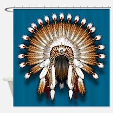 Native War Bonnet 01 - blue back shower curtain