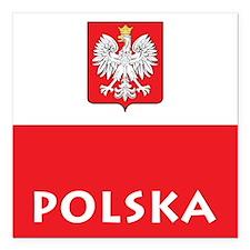 "Polska Square Car Magnet 3"" x 3"""