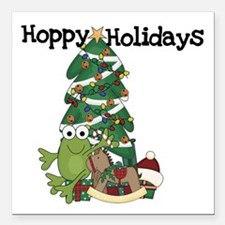 "Frog Hoppy Holidays Square Car Magnet 3"" x 3&"