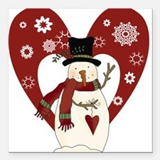 """snowmanheartsnow.png Square Car Magnet 3"""" x 3"""""""
