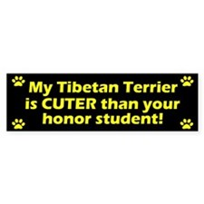 Cuter Tibetan Terrier Bumper Car Sticker