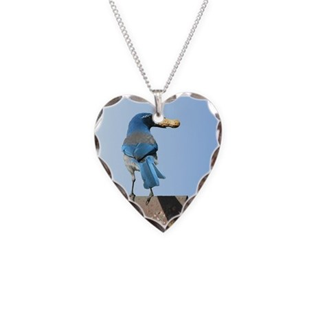 Cute Bluebird with Peanut Necklace Heart Charm