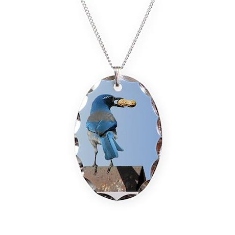 Cute Bluebird with Peanut Necklace Oval Charm