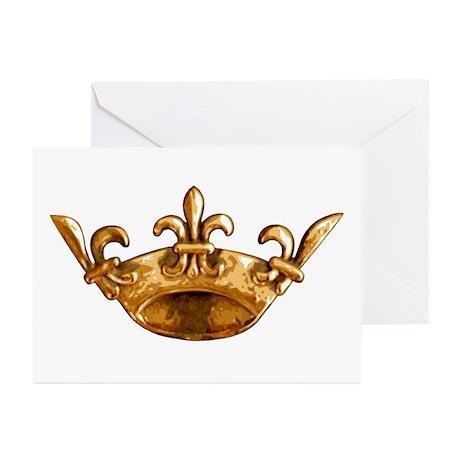 Gold Fleur de lis Crown Greeting Cards (Package of