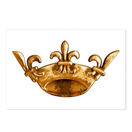 Gold Fleur de lis Crown Postcards (Package of 8)