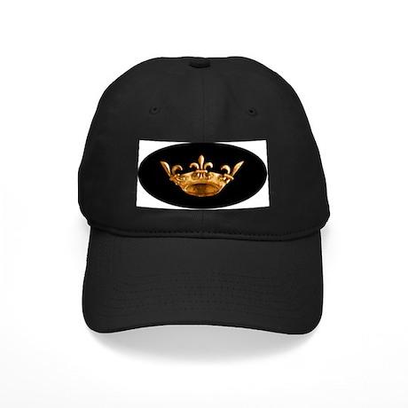 Gold Fleur de lis Crown Black Cap