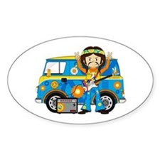 Hippie Boy and Camper Van Decal
