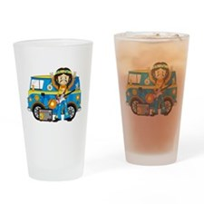Hippie Boy and Camper Van Drinking Glass