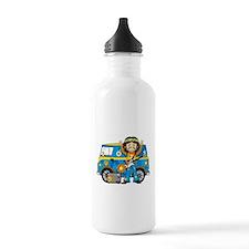 Hippie Boy and Camper Van Water Bottle