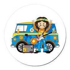 Hippie Boy and Camper Van Round Car Magnet