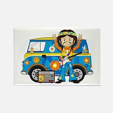 Hippie Boy and Camper Van Rectangle Magnet