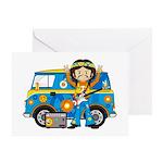 Hippie Boy and Camper Van Greeting Card