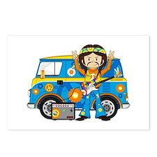 Hippie Boy and Camper Van Postcards (Package of 8)