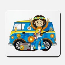 Hippie Boy and Camper Van Mousepad