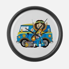 Hippie Boy and Camper Van Large Wall Clock