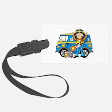Hippie Boy and Camper Van Luggage Tag