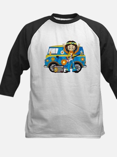 Hippie Boy and Camper Van Kids Baseball Jersey