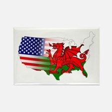 American Welsh Map Rectangle Magnet