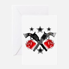 Roses Guns Greeting Card