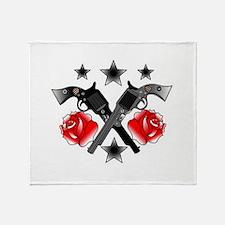 Roses Guns Throw Blanket