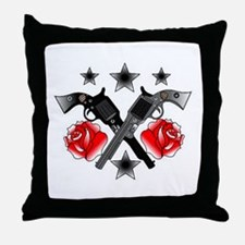 Roses Guns Throw Pillow