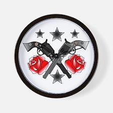 Roses Guns Wall Clock