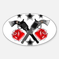 Roses Guns Sticker (Oval)