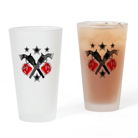 Roses Guns Drinking Glass