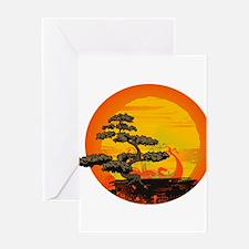 Sunset Bonsai Greeting Card