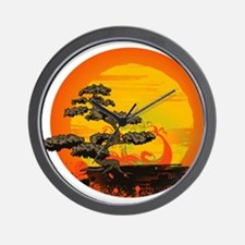 Sunset Bonsai Wall Clock