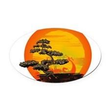 Sunset Bonsai Oval Car Magnet