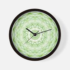 Leaf green spiderweb kaleidoscope Wall Clock