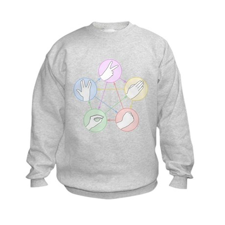 Rock Paper Scissors Lizard Spock Kids Sweatshirt