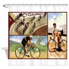 Vintage Cycling Cyclists Shower Curtain