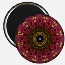 Deep flower with leaves kaleidoscope Magnet