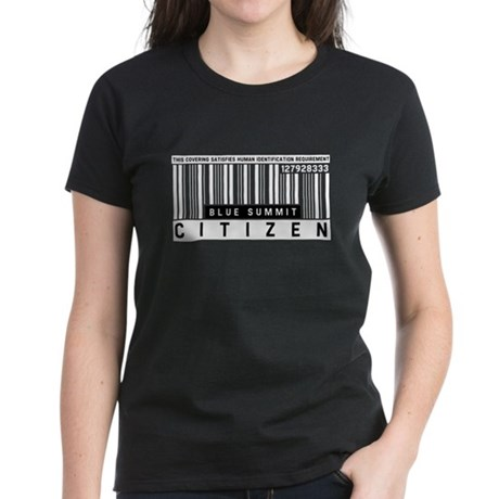 Blue Summit, Citizen Barcode, Women's Dark T-Shirt