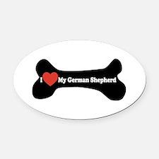 I Love My German Shepherd - Dog Bone Oval Car Magn