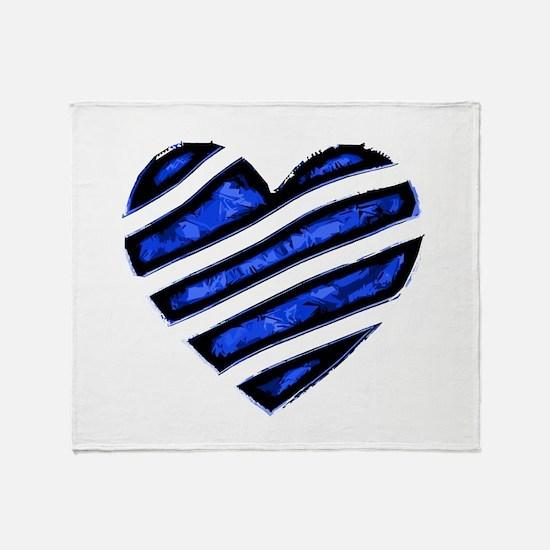 Blue stripes Heart Throw Blanket