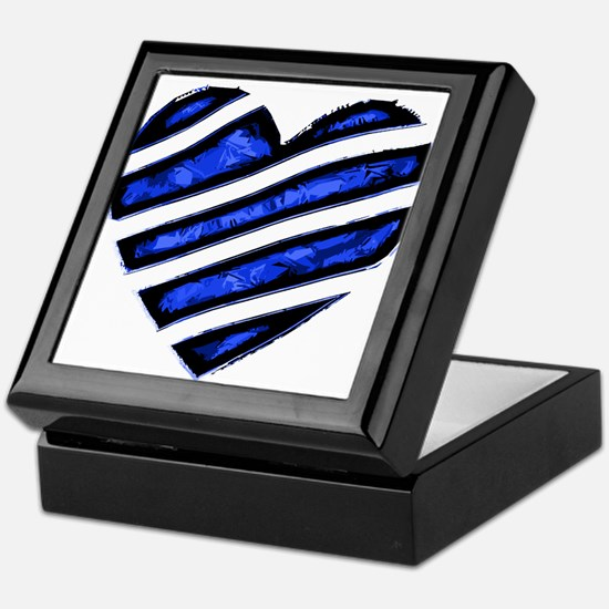 Blue stripes Heart Keepsake Box