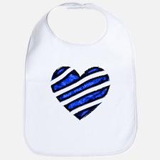 Blue stripes Heart Bib