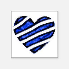 "Blue stripes Heart Square Sticker 3"" x 3"""