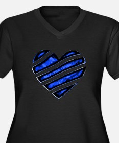 Blue stripes Heart Women's Plus Size V-Neck Dark T