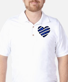 Blue stripes Heart Golf Shirt