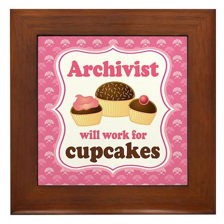 Archivist Cupcake (Funny) Framed Tile