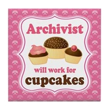 Archivist Cupcake (Funny) Tile Coaster