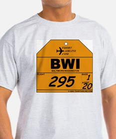 BWI Baltimore / Washington City Code Grey T-Shirt