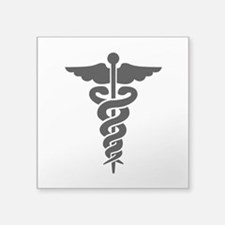 "Medical Symbol Caduceus Square Sticker 3"" x 3"