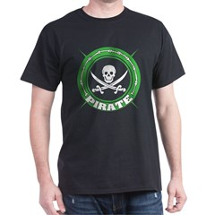 Green Pirate Skull and Swords Black T-Shirt