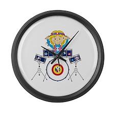 Hippie Girl Drummer Large Wall Clock